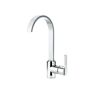 K07 Chrome Curved 360 Swivel Kitchen Tap