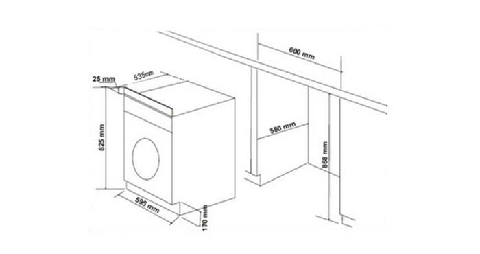 standard washing machine height